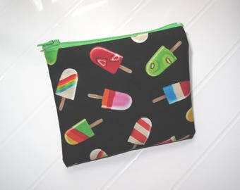 Small black and green purse Cosmetic case with ice creams