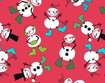 Andover - Snow Day - A7881R - Christmas - Winter -  Snowmen - Red - Novelty - One More Yard