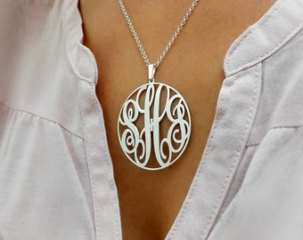 """Statement Circle Monogram necklace - 1.5"""" inch Personalized Monogram - 925 Sterling Silver"""