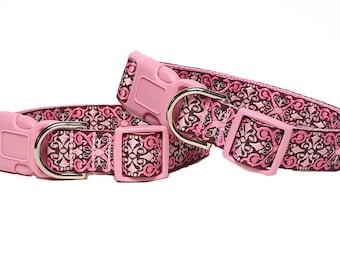 Pink dog collar, CAMELOT pink collar, tag collar, buckle collar, buckle dog collar, house collar, medieval collar, renaissance collar