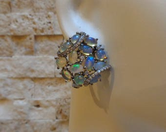 AAA Opal earrings in Oxidized Sterling Silver with pave cz