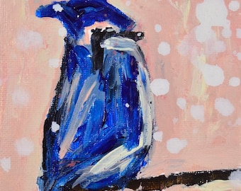 Blue Jay Bird Painting. Mini Acrylic Animal Portrait.  Pink Cottage Chic Decor. Stocking Stuffer. 106