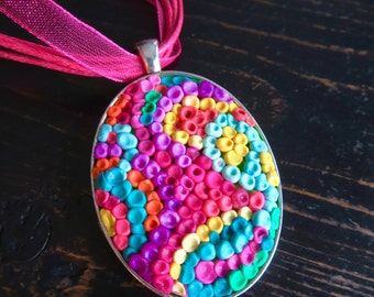 Rainbow Oval Pendant Necklace. HADDI. Multicoloured Polymer Clay Pointillism Adjustable Pendant Necklace