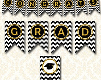 Congrats Grad Banner - Black and Gold Graduation Banner, Instant Download Printable Bunting, Grad Cap Pennant Class of 2018, 9928
