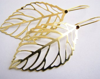 FREE SHIPPING WAI - Golden Leaf Skeleton Earrings - A nature inspired gift with other colors available also