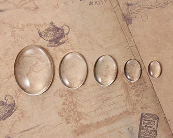 set of 5 oval glass dome cabochons (see below below for description of sizes)