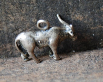 Exotic vintage 70s, sterling silver,  hand crafted, 3d bull pendant-charm.