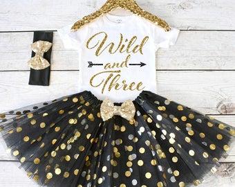Wild and Three. CUSTOM AGE. Girls Birthday Outfit. Birthday Shirt. Birthday Tutu Outfit. Birthday Outfit Girl. 3rd birthday S3 3BD (BLACK)