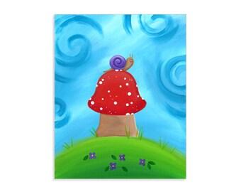 Snail on a Toadstool - Snail Nursery Illustration