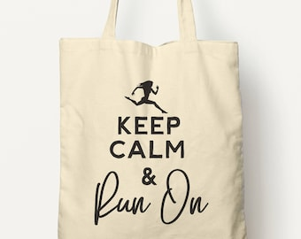 Keep Calm And Run On Cotton Tote Bag - Running gifts, Running shirt, Funny Running Gifts, Running Gift Ideas, Fitness Mom, Workout Gifts