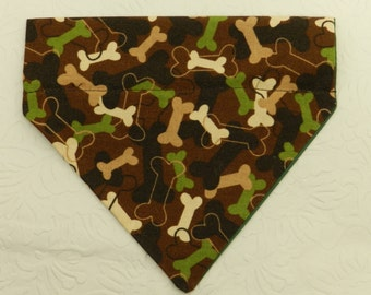 I'm Here to Protect You! Adorable BONE PRINT Military Camouflage Bandana. Great 4 Dogs, Cats or Ferrets. Reversible 2 in 1 Over the Collar.