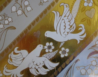 Vintage Gift Wrap 1980s Wedding Wrapping Paper- Gold & Silver Foil- Love Birds and Lillies