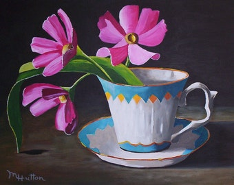 """One Tea Cup With Flowers, Still Life Painting, Acrylic Painting Original, 9"""" by 12"""", Fine Art Painting, Gift"""
