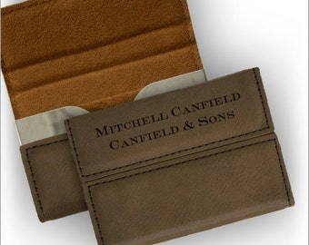 Personalized Leather Business Card Holder - 3431
