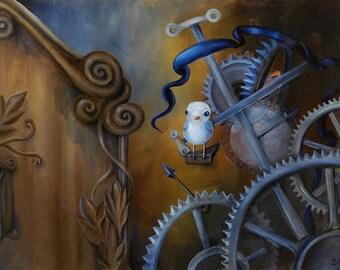 "Limited Edition 14"" x 11"" Matte Print on Fine Art Paper  -- Delve (Cuckoo Clock, Gears, Steampunk)"