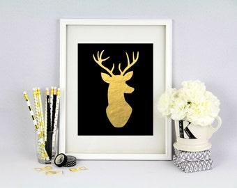 Deer Silhouette - Antlers - Hunting Lodge Decor - Nursery Decor-  Antler Print - Gold Deer Print