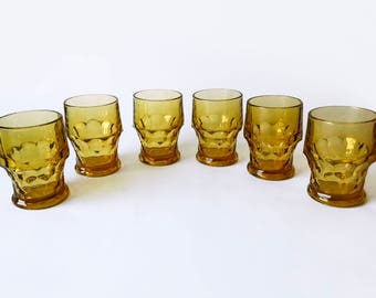 Set of 6 Amber Georgian Tumblers by Libbey Glass Company