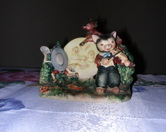 Vintage 1950's Lefton Nursery Rhyme Hey Diddle Diddle The Cat And The Fiddle Figurine 1257