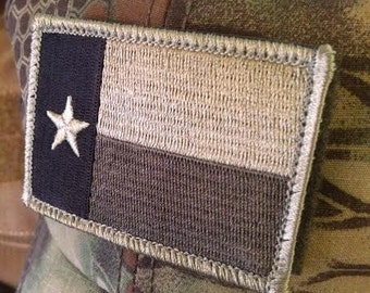 Subdued Tactical Texas State Flag Patch with velcro back