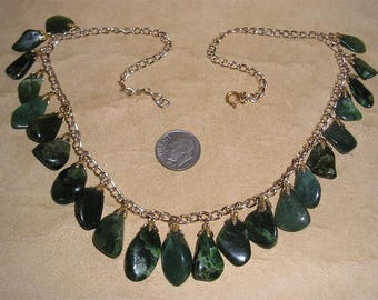 Vintage Real Jade Tear Drop Dangle Necklace 1960's Jewelry 11240