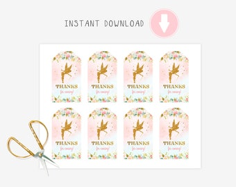 Fairy tags, Favor Tag, Gift Tag, Party Favor, Instant Download , Thank you tags, Favors, Thank you Note, Merci Tags, shower favor
