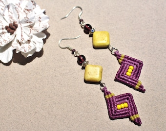 Chic micro macrame, purple and yellow howlite earrings