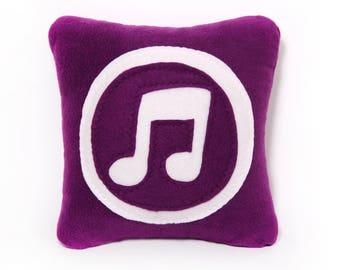12 x 12 itunes Pillow - handmade pillow - decorative pillow - geekery pillow