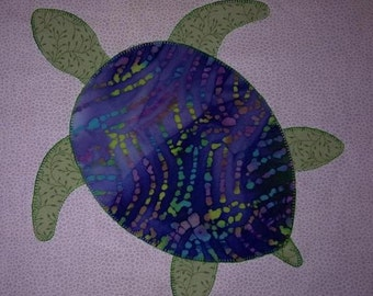 Sea Turtle Applique Quilt Block - PDF Pattern