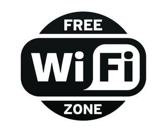 Sticker Decal Free internet Wifi Zone Weatherproof Hobbies food restaurant decoration 12001
