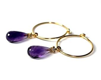 Gold Vermeil, Amethyst, hoop earrings, cubic zirkonia, Golden Purple, womans, handmade, boho, gift for her, purple,  free shipping
