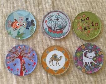 6 Mini Coasters, Metal Coaster Set, Drink Coasters, Tin Coasters