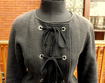 100% Authentic Vintage Chanel black cotton fitted tailor blazer jacket