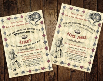 Alice in Wonderland Bridal Shower Invitation - for Birthday, Baby Shower, Bridal shower Tea Party - Printable DIY
