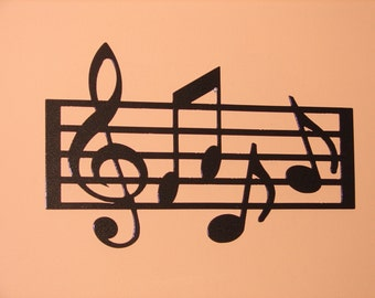 Metal WALL ART Home Decor Music Notes Musical 18.5in Long 12in Tall Staff