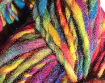 Super bulky handspun yarn / jumbo yarn / rainbow yarn