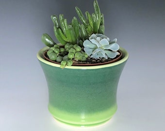 """Green Succulent Planter, Green Ceramic Planter, Porcelain Plant Holder, Small Indoor Planter, Pottery Planter with 4"""" Removable Plastic Pot"""