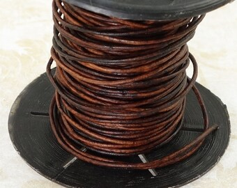 0.5mm Red Brown Leather Cord - 10 Meter Spool SKINNY LEATHER LACE - Fine Cording for Braids - Natural Dye