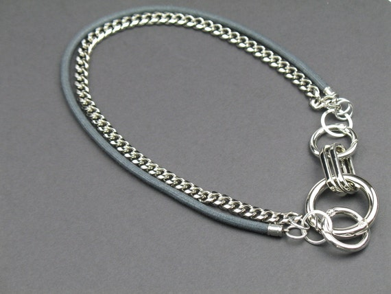 Chunky Chain Statement Necklace in Silver with Black Mokuba Cord, Best Seller, Convertible Necklace