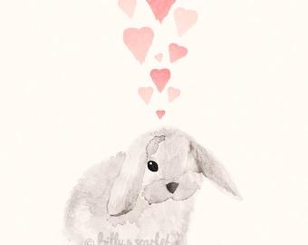 Bunny Full of Love Art Print for Baby Nursery, 8x10 / A4 Print for Baby Girl Nursery or Baby Boy Nursery
