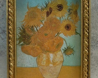 Dollhouse Miniature accessory in twelfth scale or 1:12 scale; Framed artwork.  Vase of sunflowers. Item # 420.