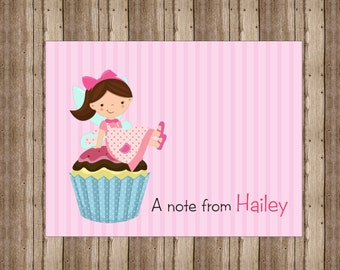 PERSONALIZED NOTECARDS for GIRLS / Cute Girls Cupcake Fairy Notecards Boxed/Pink Girls Stationery/Set of 10/Cupcake Fairy Thank You Cards/