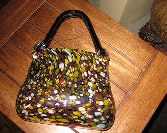 "VINTAGE ART GLASS Purse ""Julianne Evening"" Black Background With Multi Color Design, Clear Glass Flower Design Where Handle Meets Purse"