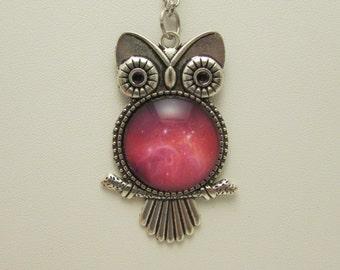 Space Nebula Owl Glass Necklace, Space Nebula Pendant, Owl Jewelry, Outer Space Necklace, Glass Owl Pendant