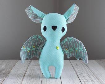 Bat stuffed animal plush toy in teal, bat plush, stuffed toy bat
