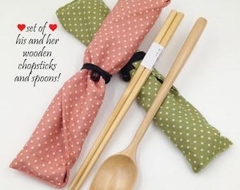 Wooden Chopsticks & Spoon Set, House Warming Gift, Wedding Favor, Christmas Gift, Chopsticks Pouch