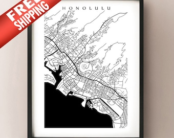 Honolulu Map Print - Hawaii poster - Oahu - Choose your size