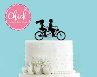 Bicycle Made for Two Tandem Bike Wedding Cake Topper