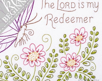 My Redeemer - DIY Beginner Embroidery KIT with Butterfly
