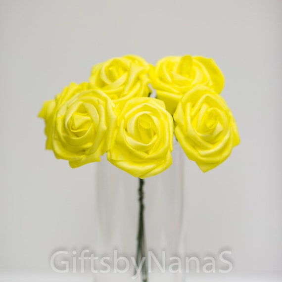 Yellow foam roses 9pc bulk foam roses real touch flowers canary yellow foam roses 9pc bulk foam roses real touch flowers canary yellow roses wedding flowers yellow silk flowers diy wedding bouquet from giftsbynanas mightylinksfo