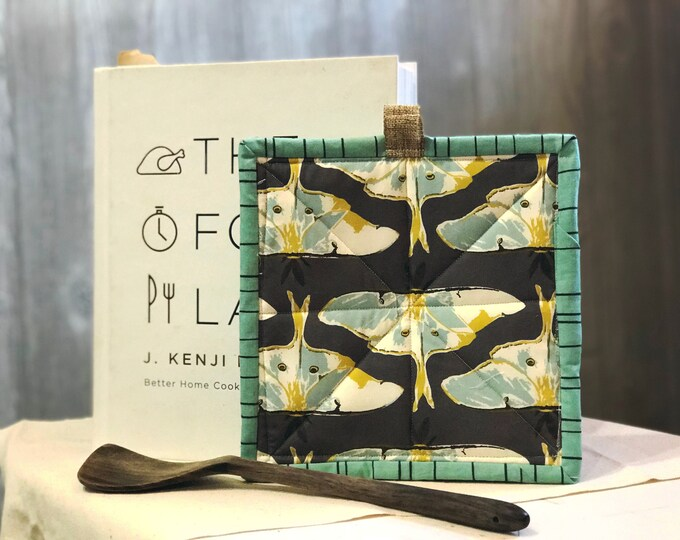 Luna Moth Quilted Pot Holders